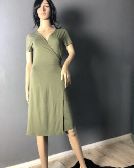 Olivgrünes Wickelkleid