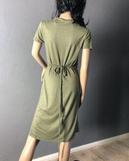 Rücken olivgrünes Wickelkleid